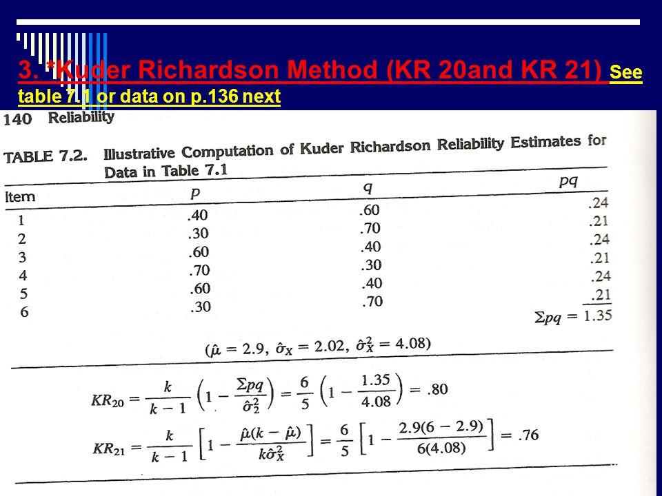 3. *Kuder Richardson Method (KR 20and KR 21) See table 7.1 or data on p.136 next