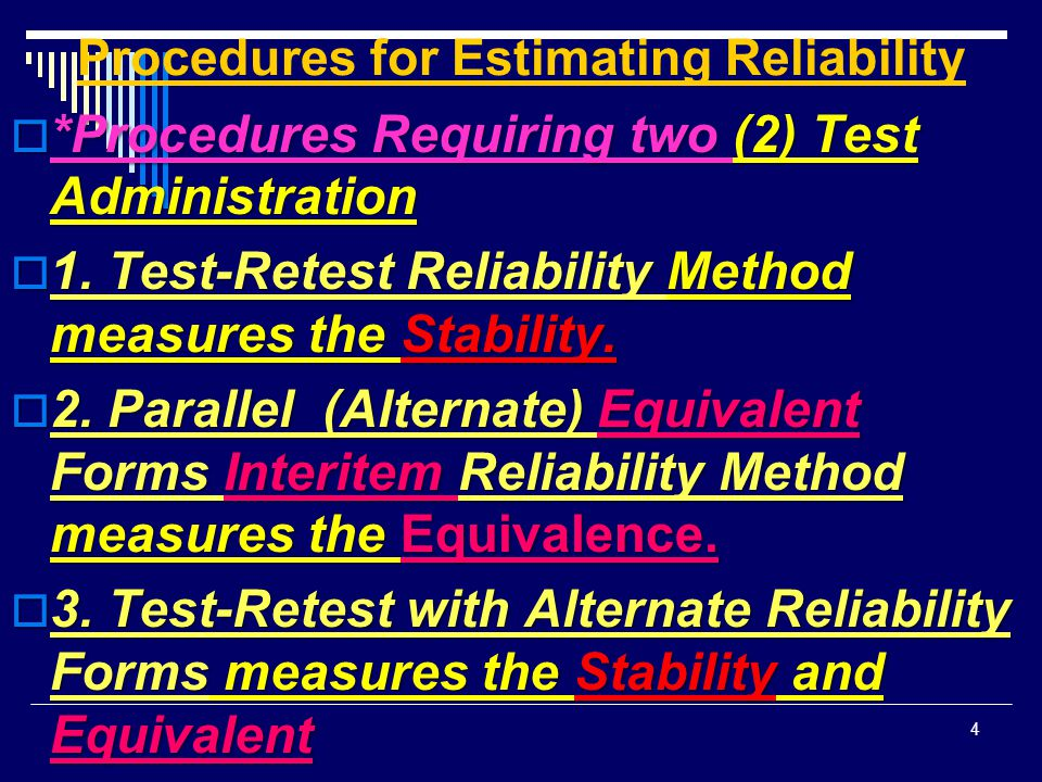 Procedures for Estimating Reliability