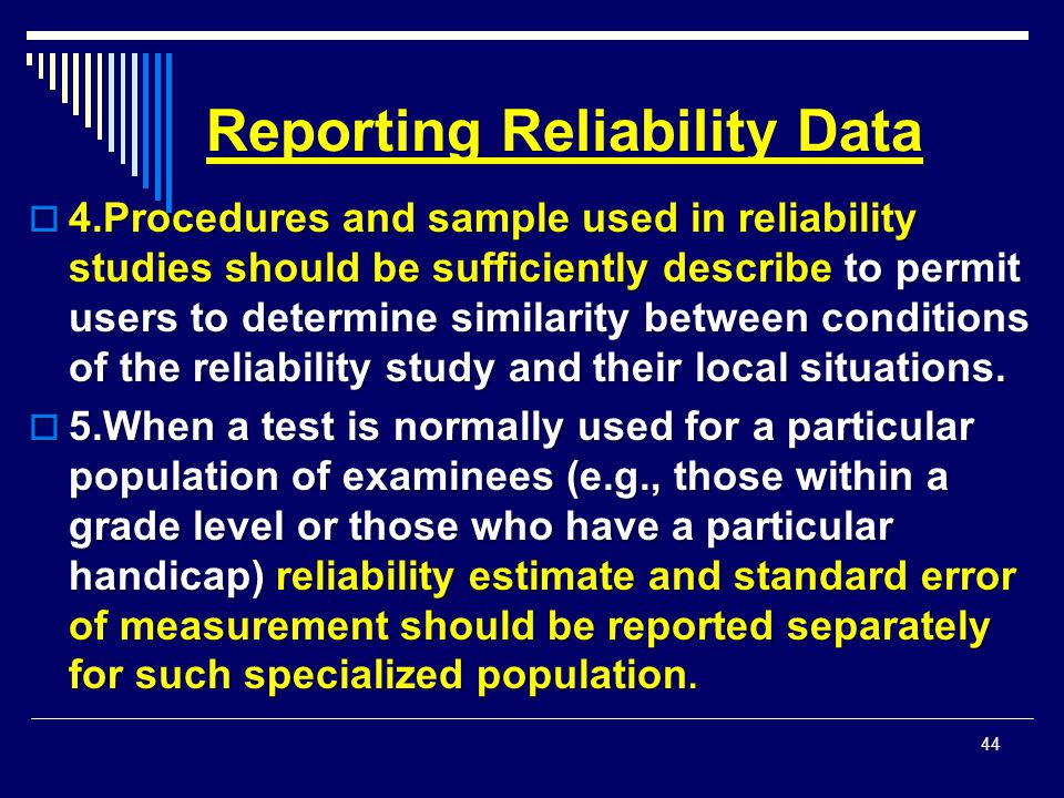 Reporting Reliability Data