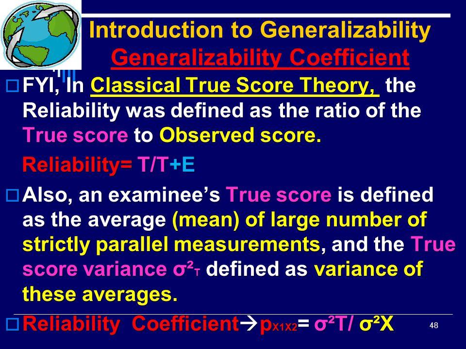 Introduction to Generalizability Generalizability Coefficient