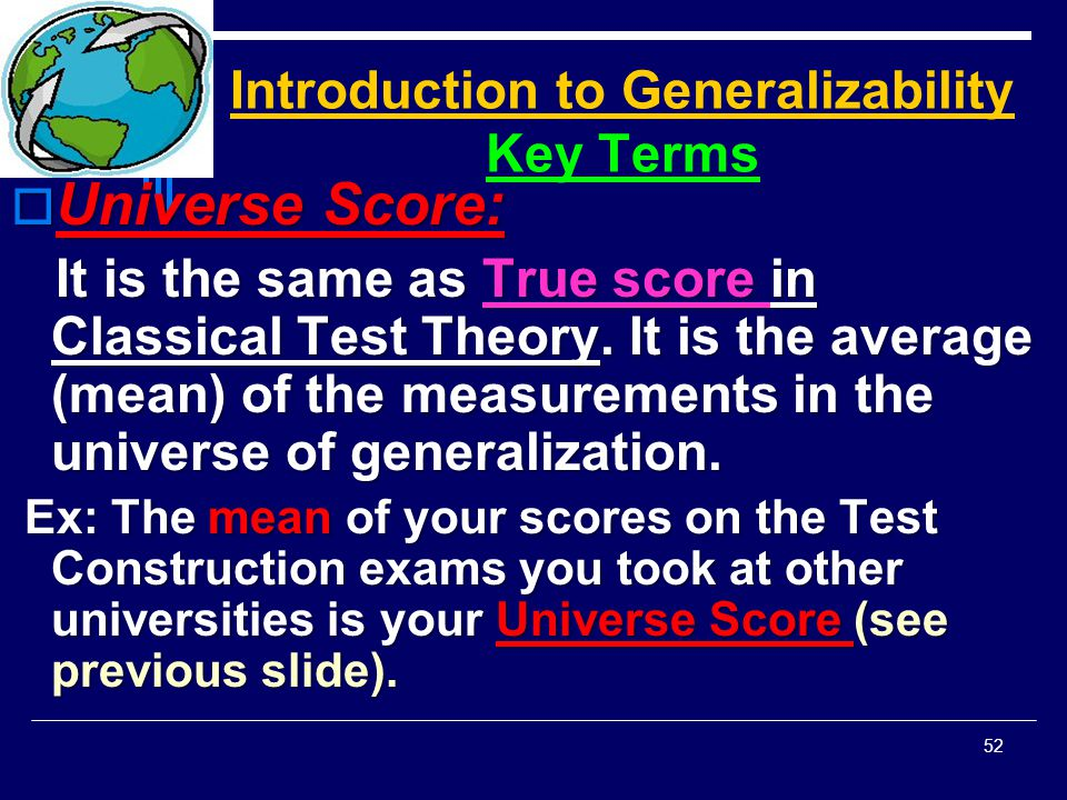 Introduction to Generalizability Key Terms
