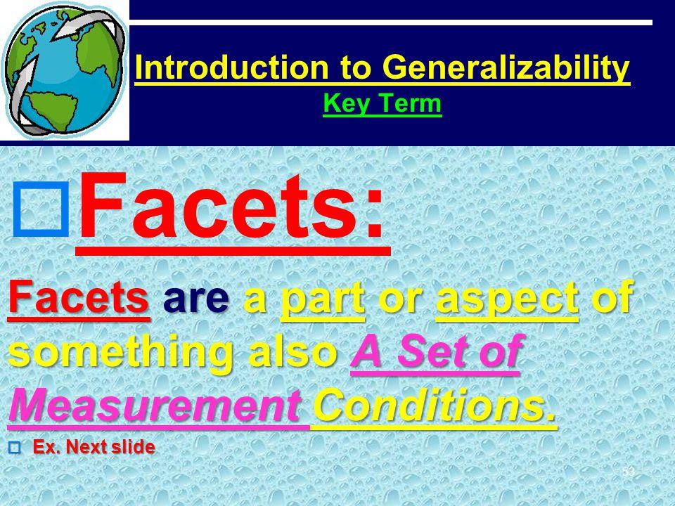 Introduction to Generalizability Key Term