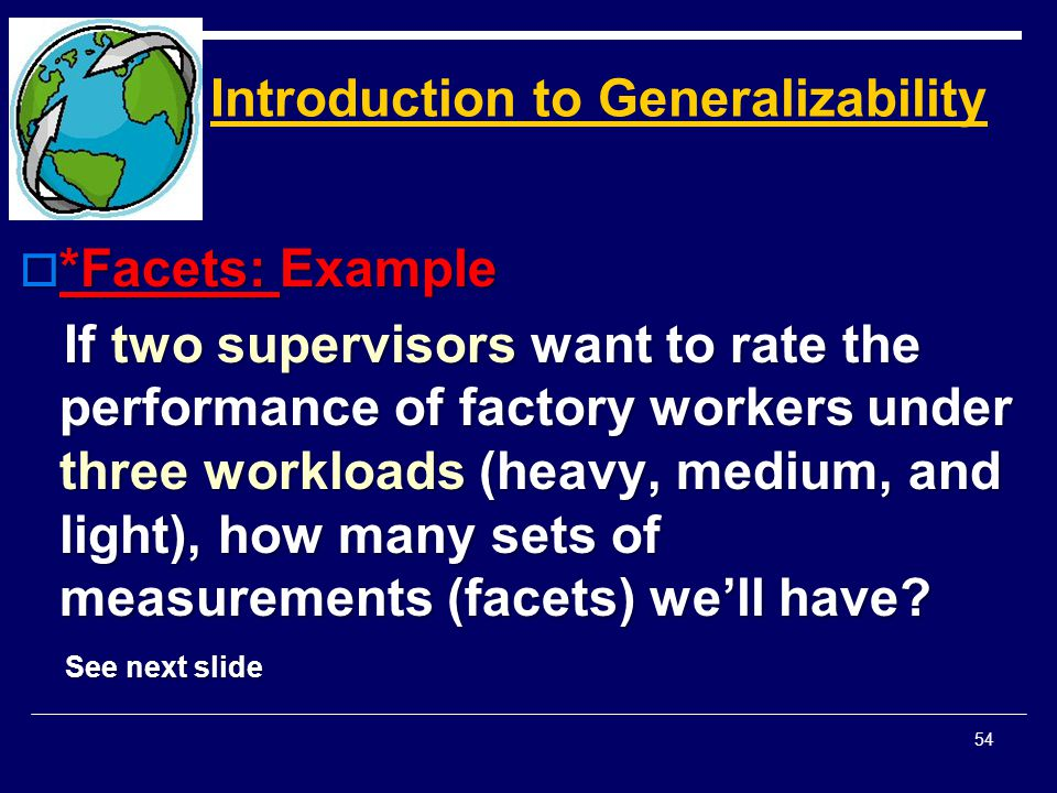Introduction to Generalizability