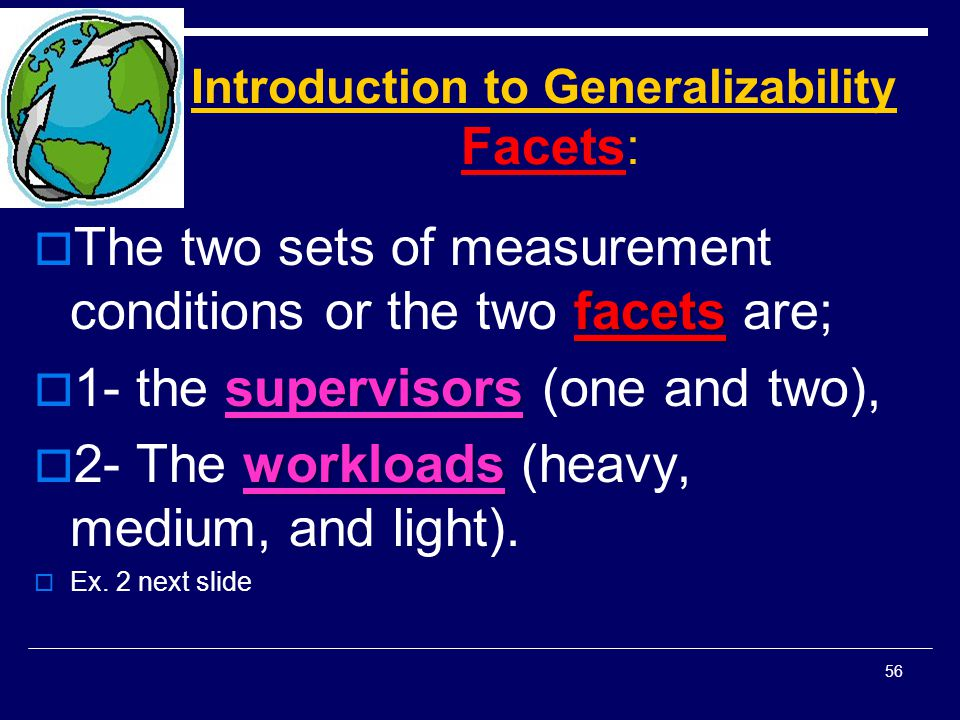 Introduction to Generalizability Facets: