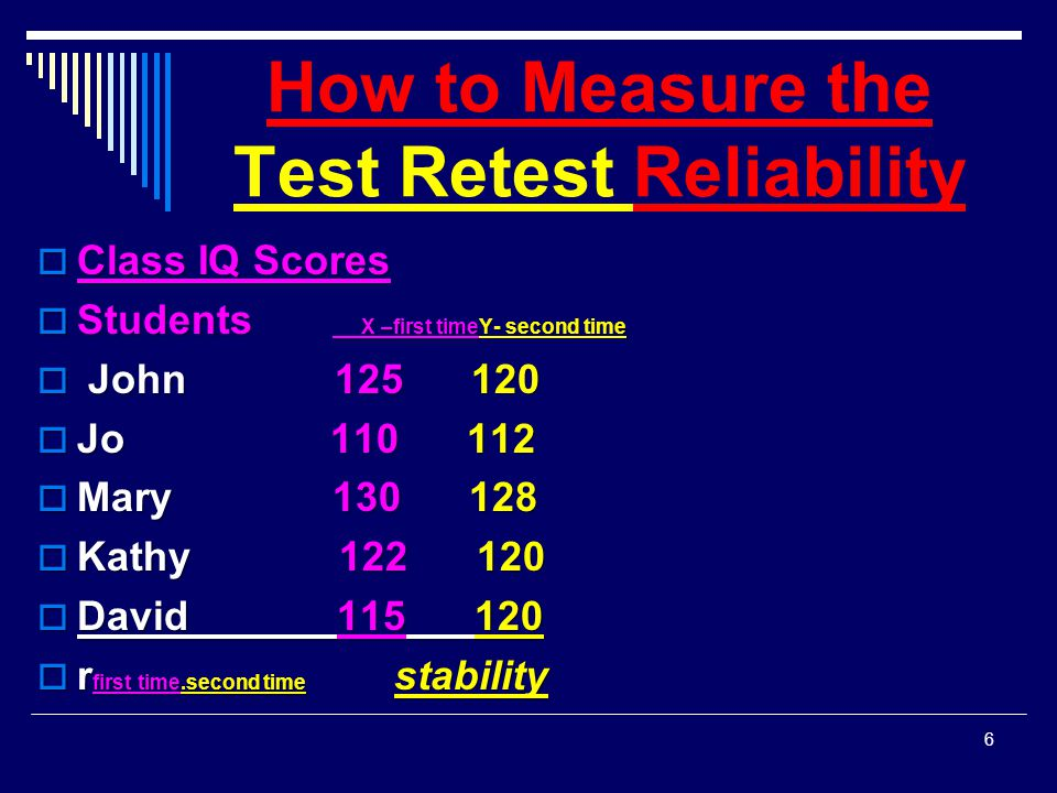 How to Measure the Test Retest Reliability