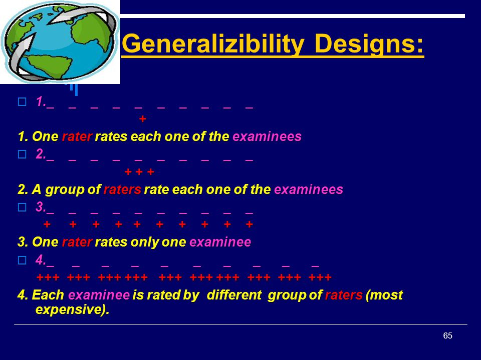 Generalizibility Designs: