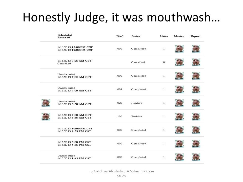 Honestly Judge, it was mouthwash…