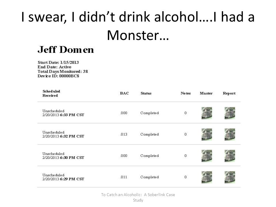 I swear, I didn't drink alcohol….I had a Monster…