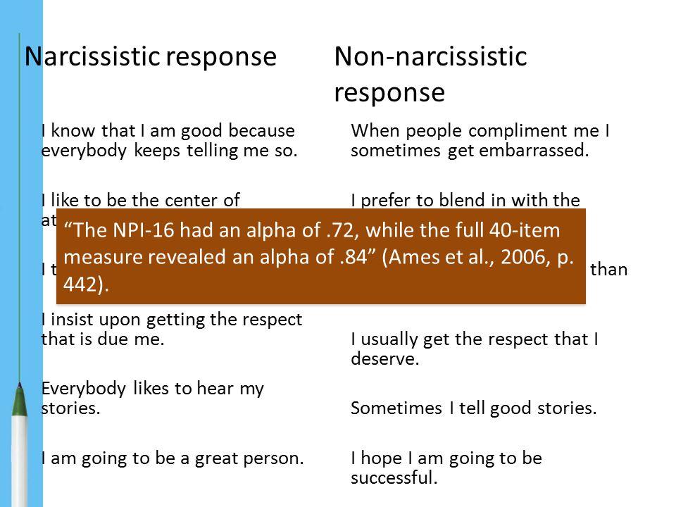 Narcissistic response Non-narcissistic response