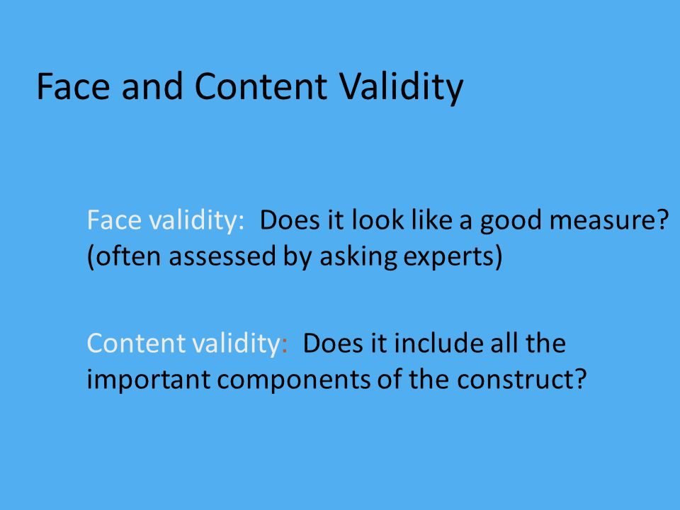 Face and Content Validity