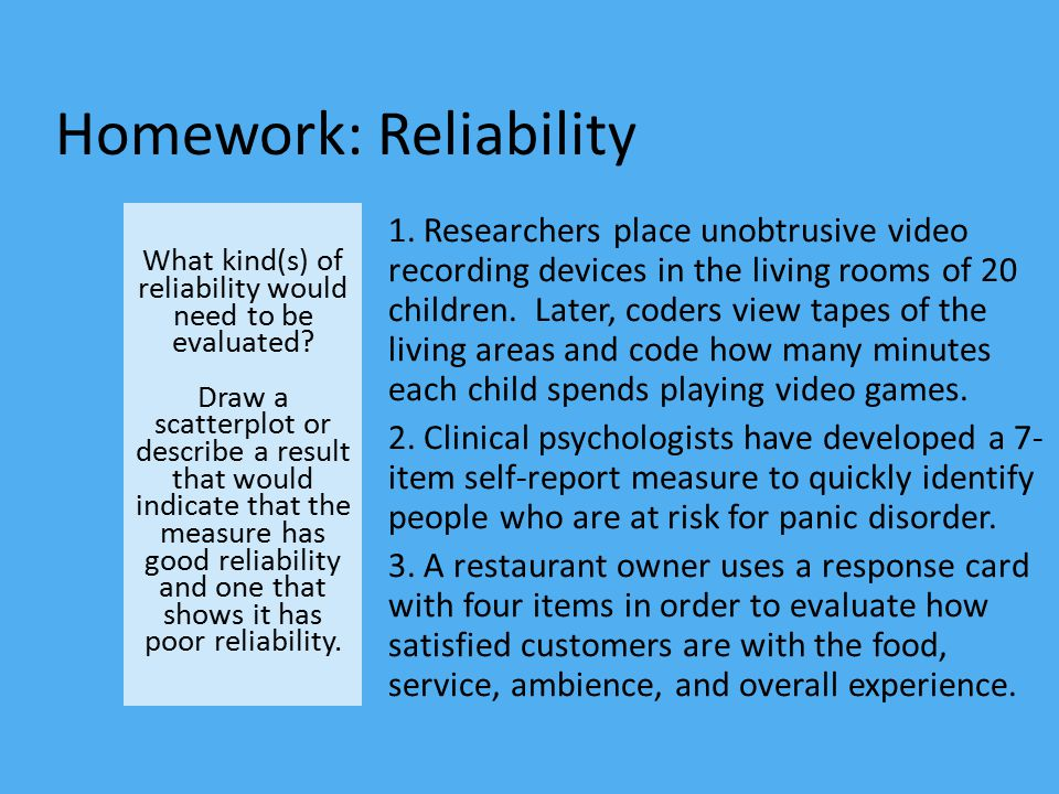 Homework: Reliability