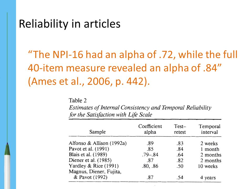Reliability in articles