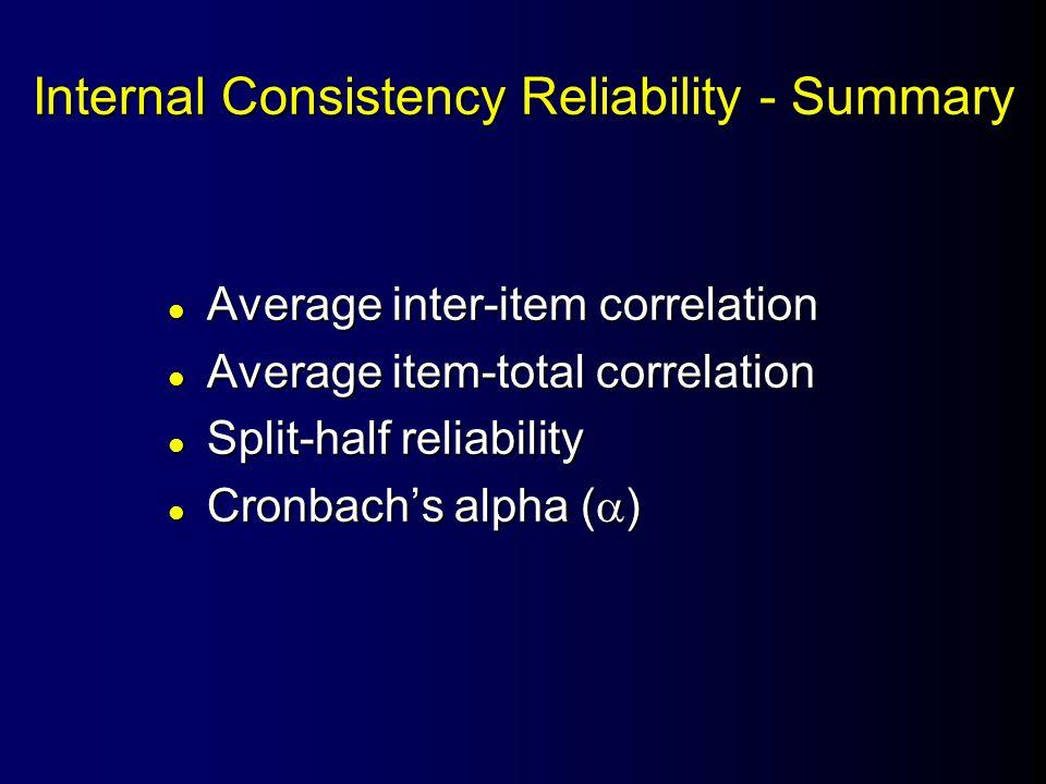 Internal Consistency Reliability - Summary