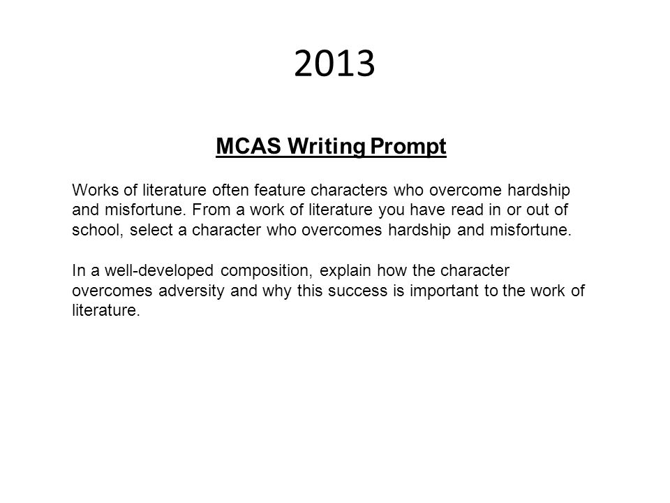 2013 MCAS Writing Prompt.