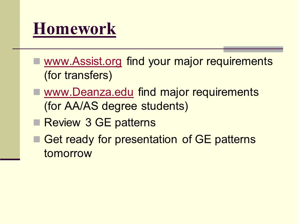 Homework www.Assist.org find your major requirements (for transfers)