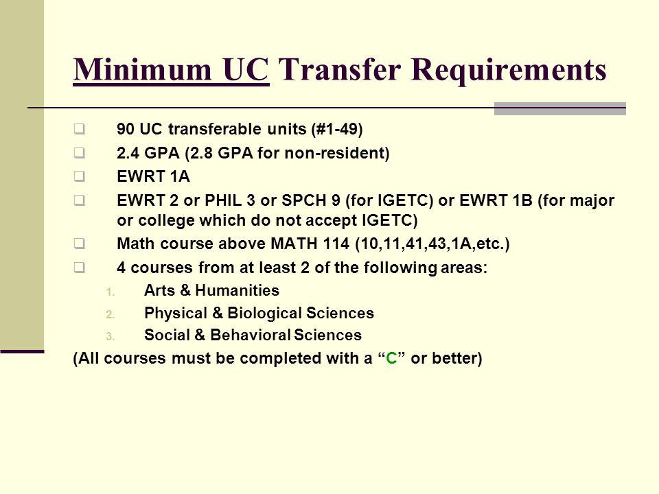 Minimum UC Transfer Requirements