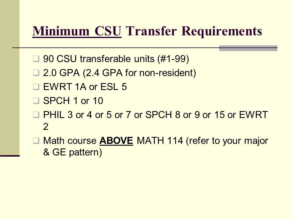 Minimum CSU Transfer Requirements