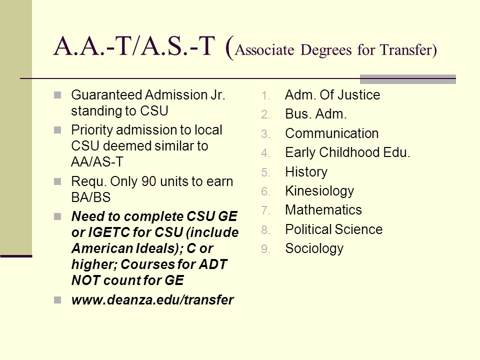 A.A.-T/A.S.-T (Associate Degrees for Transfer)