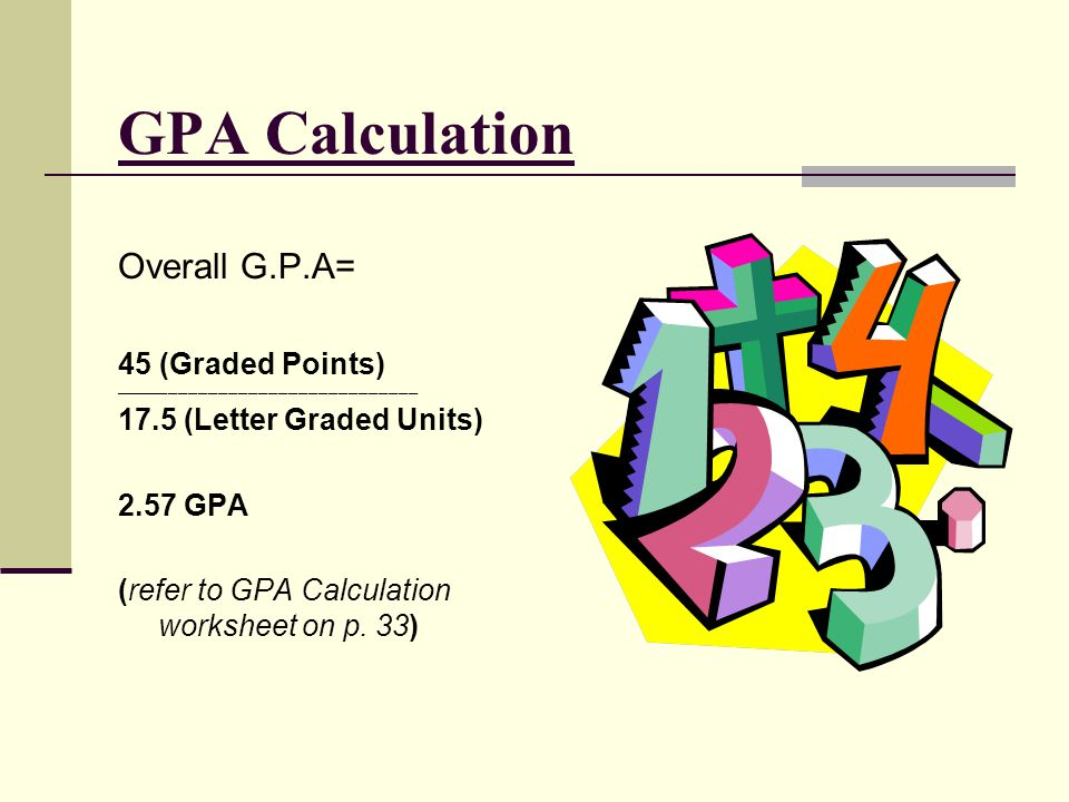 GPA Calculation Overall G.P.A= 45 (Graded Points)