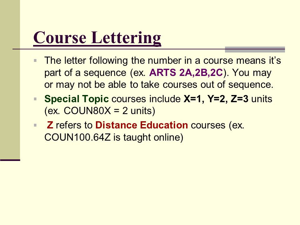 Course Lettering