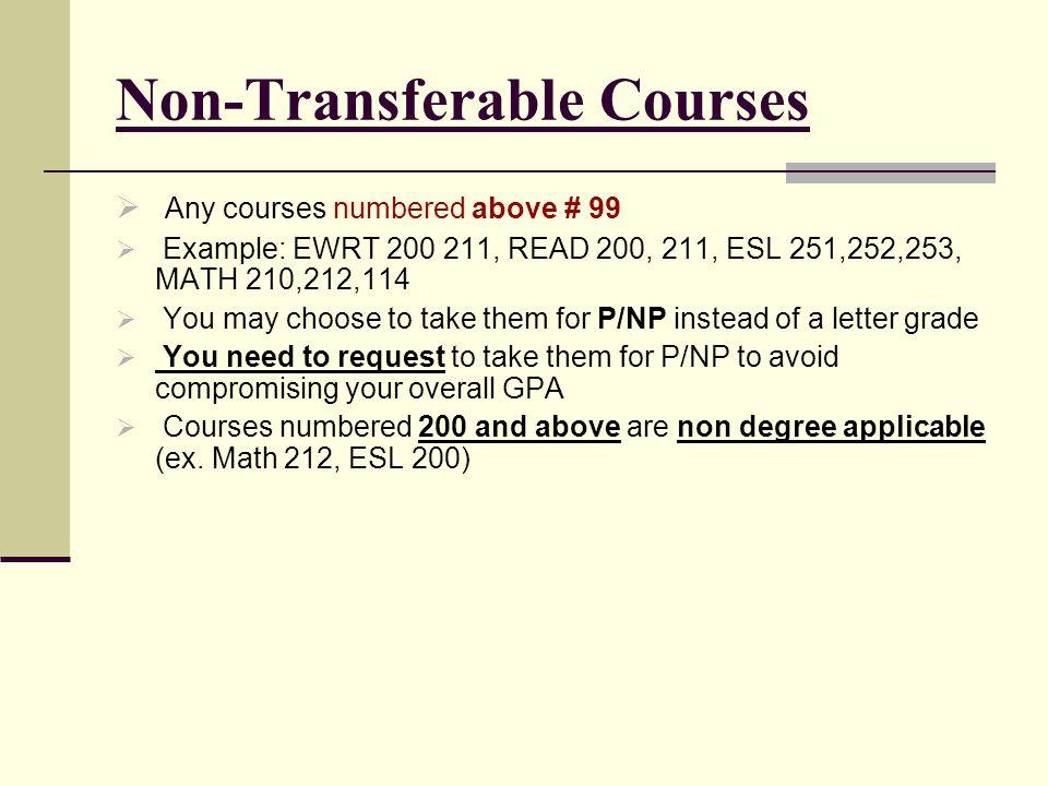 Non-Transferable Courses