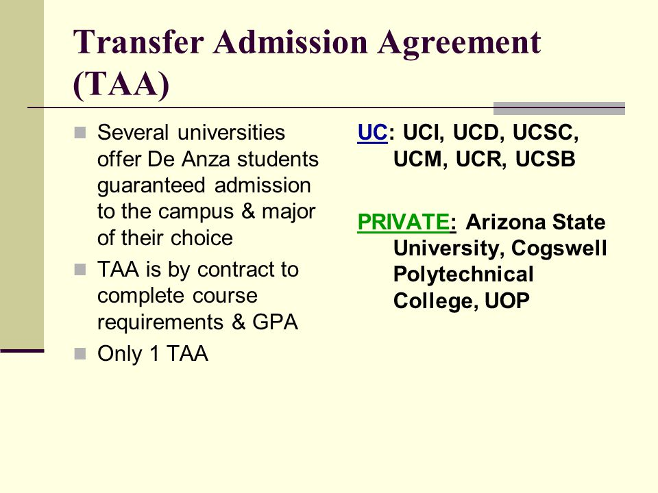 Transfer Admission Agreement (TAA)