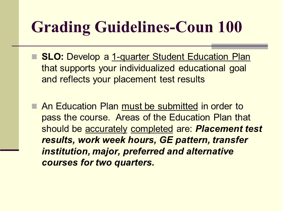 Grading Guidelines-Coun 100
