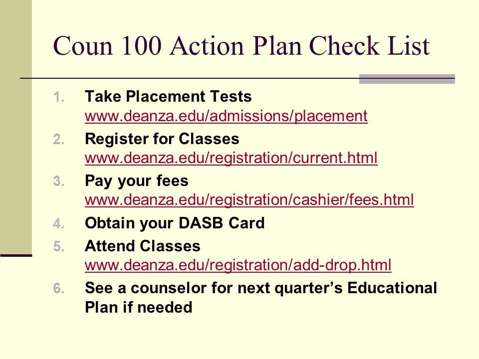 Coun 100 Action Plan Check List