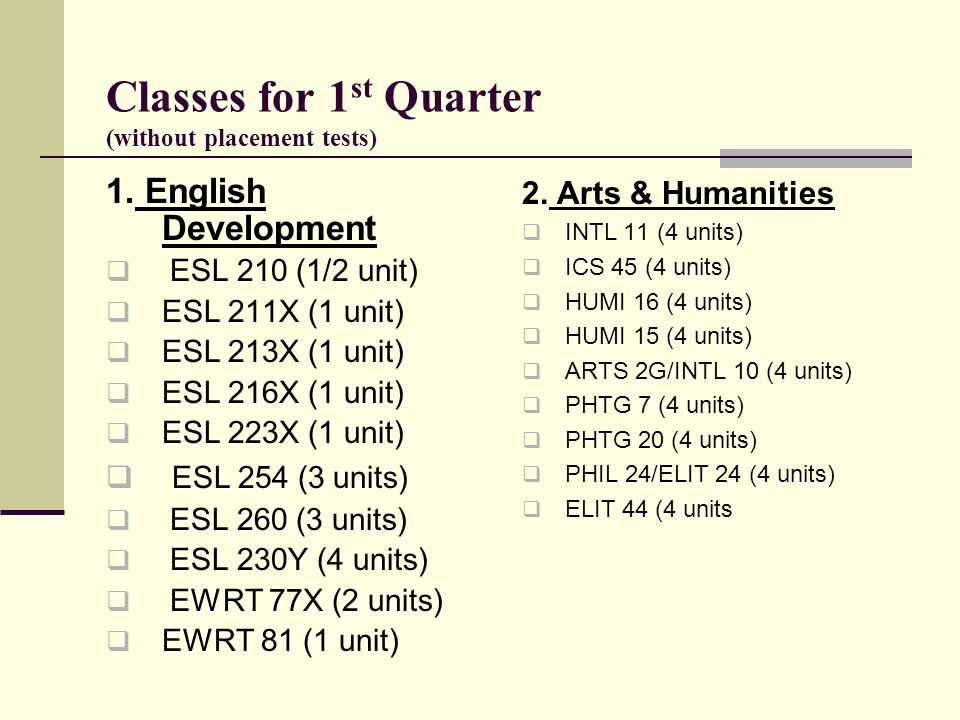 Classes for 1st Quarter (without placement tests)