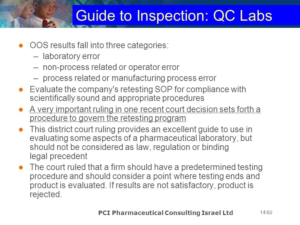Guide to Inspection: QC Labs