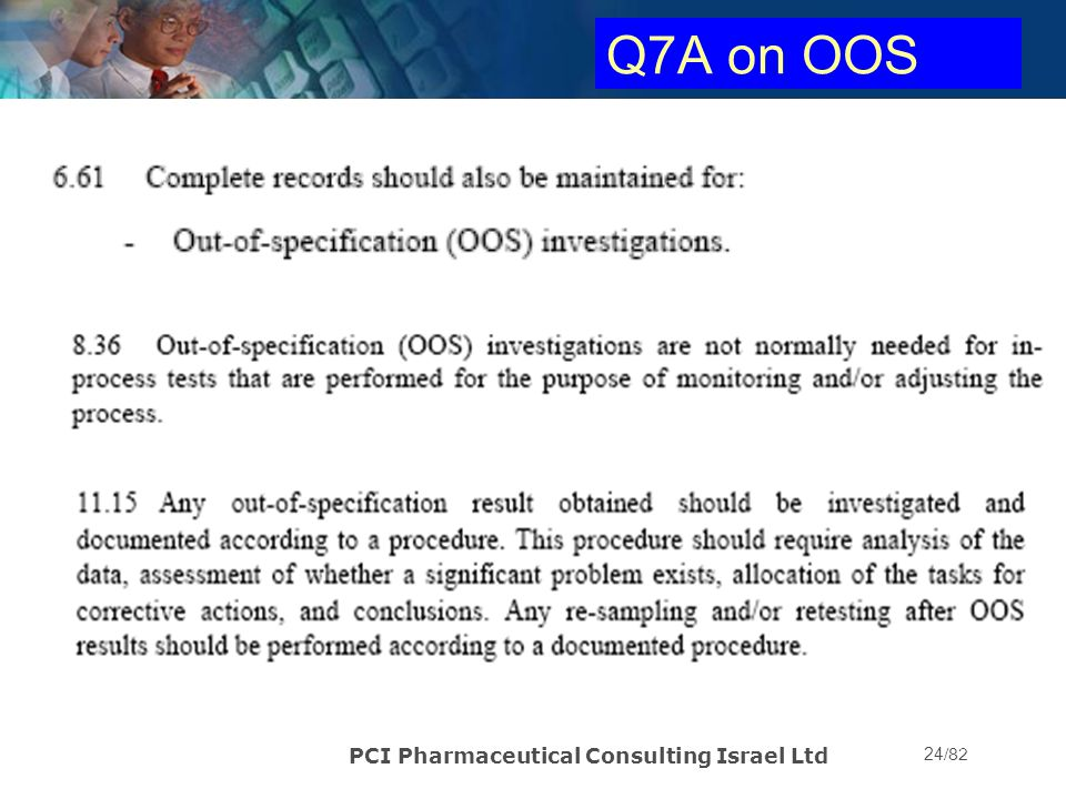 Q7A on OOS PCI Pharmaceutical Consulting Israel Ltd