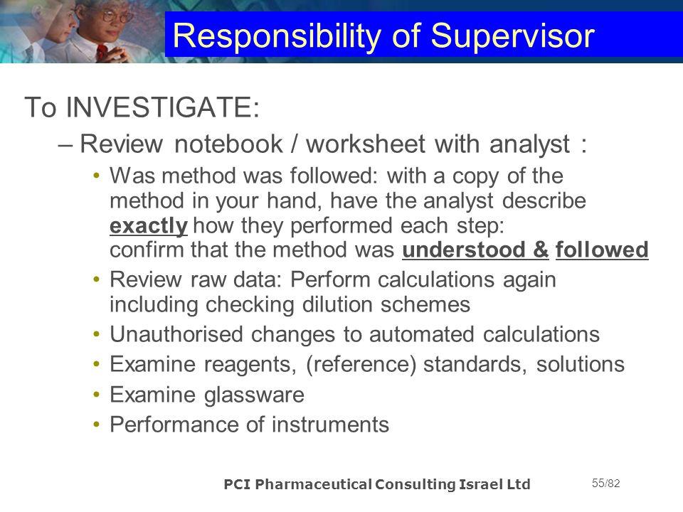 Responsibility of Supervisor
