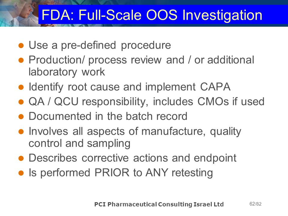 FDA: Full-Scale OOS Investigation