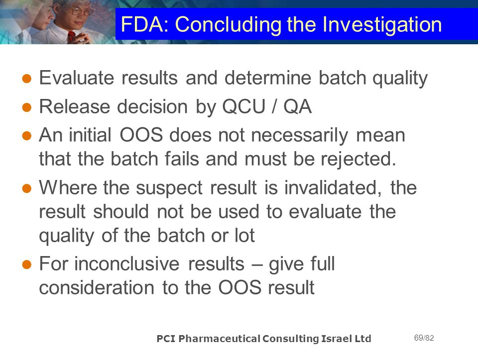 FDA: Concluding the Investigation