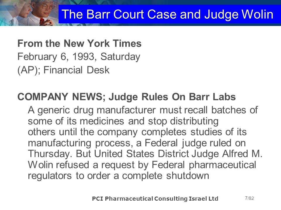 The Barr Court Case and Judge Wolin