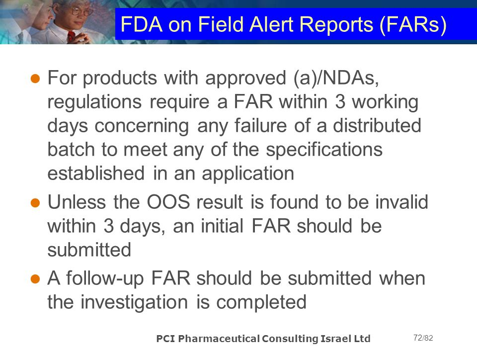 FDA on Field Alert Reports (FARs)
