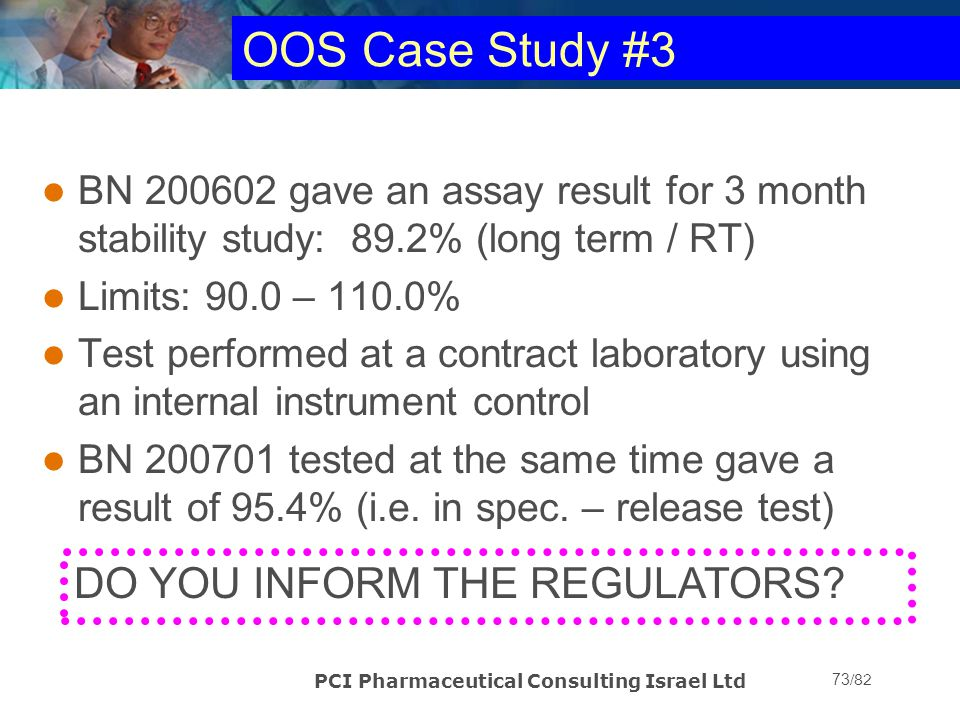 OOS Case Study #3 DO YOU INFORM THE REGULATORS