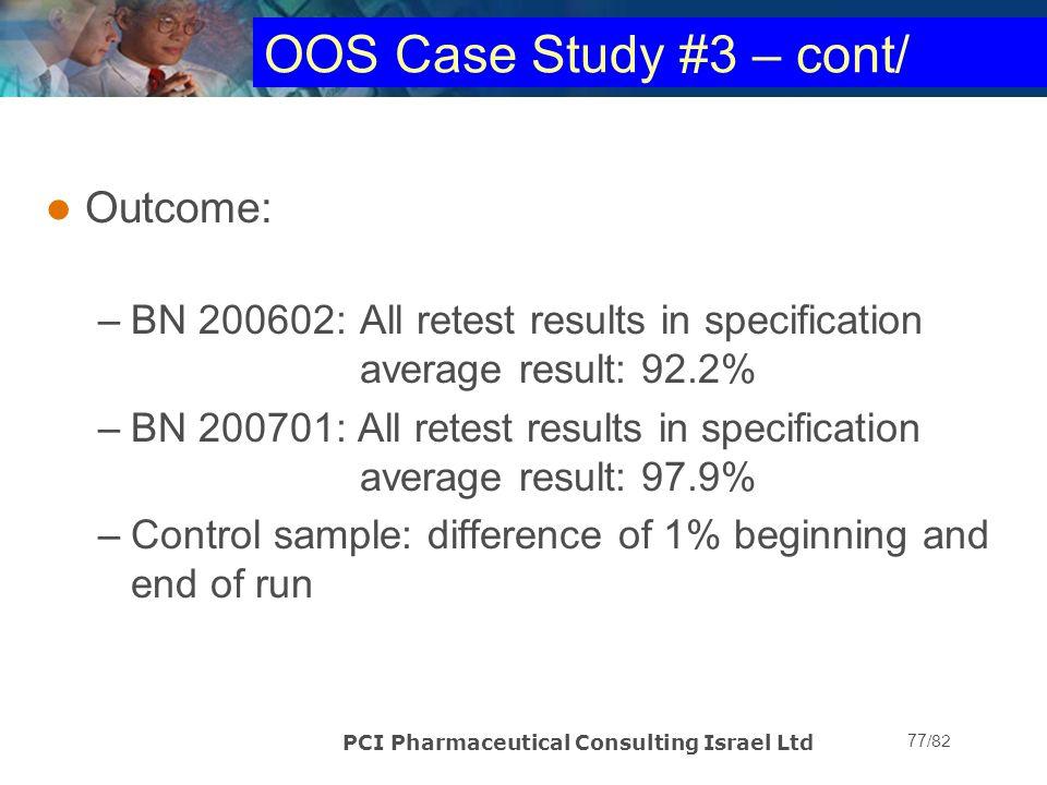 OOS Case Study #3 – cont/ Outcome: