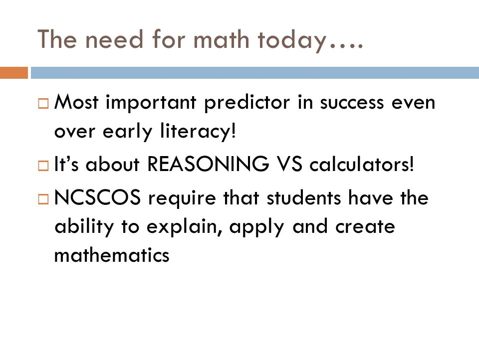 The need for math today….