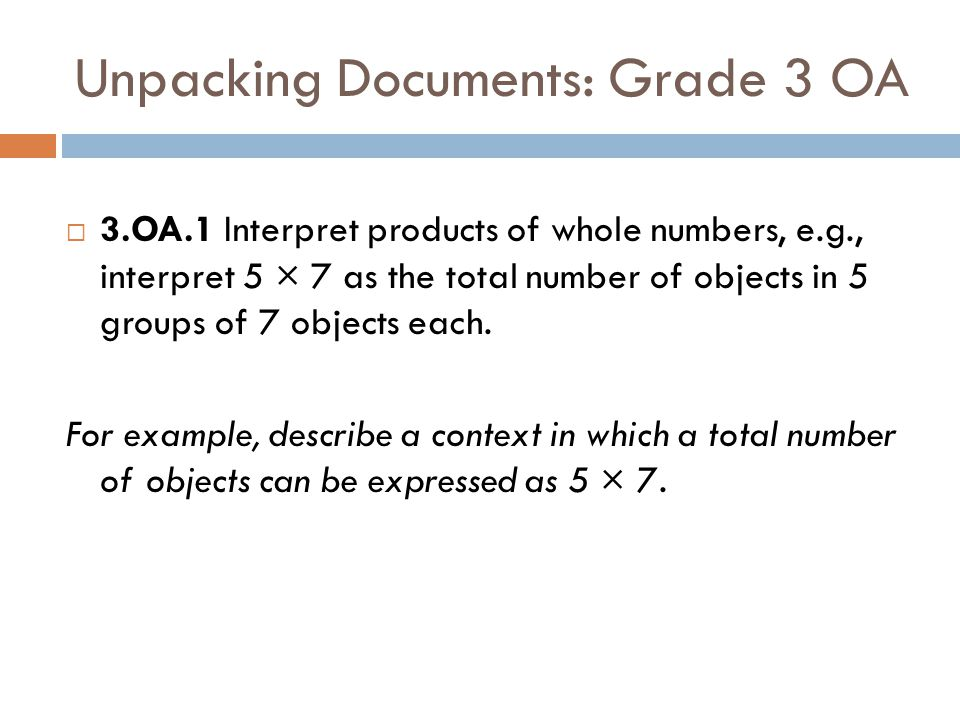 Unpacking Documents: Grade 3 OA