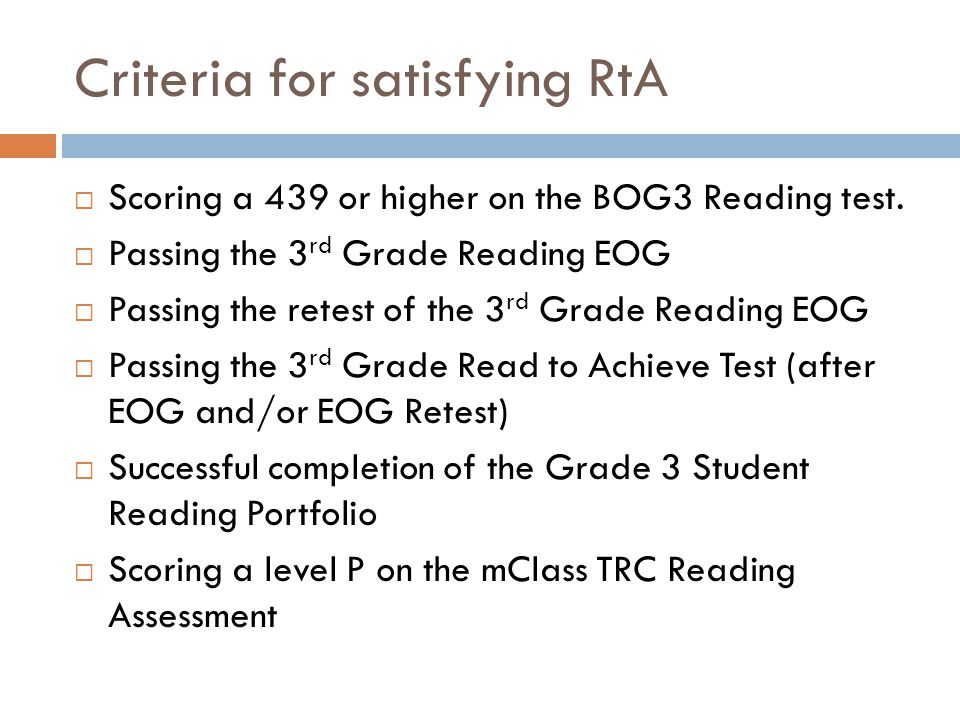 Criteria for satisfying RtA