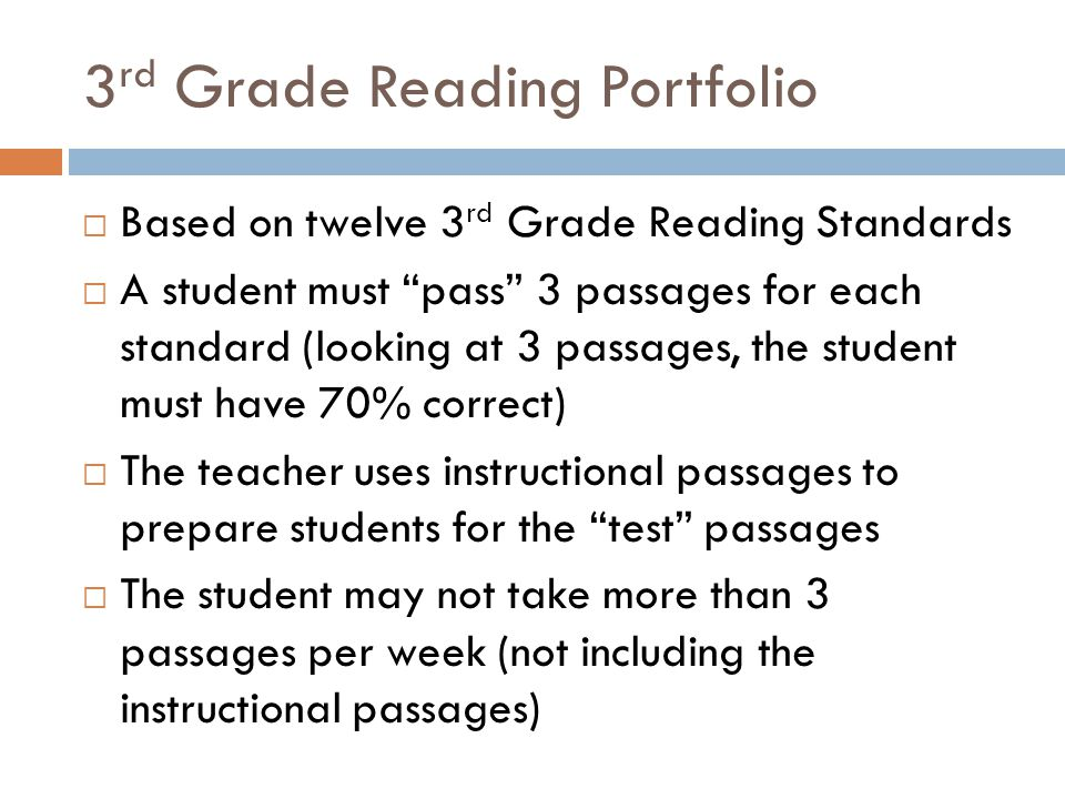 3rd Grade Reading Portfolio