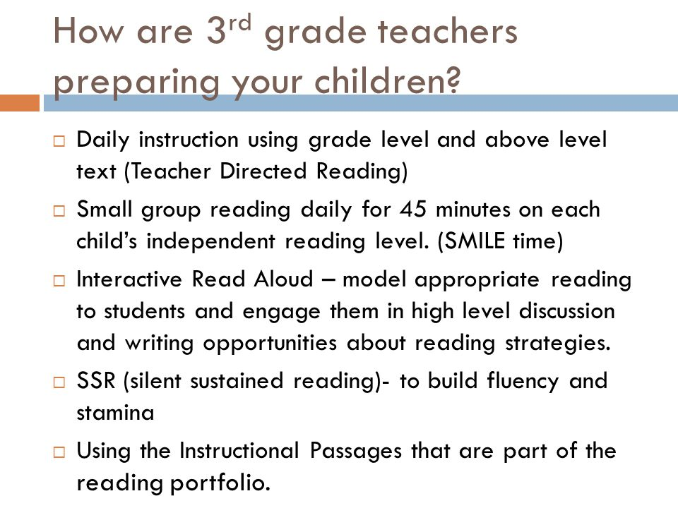 How are 3rd grade teachers preparing your children