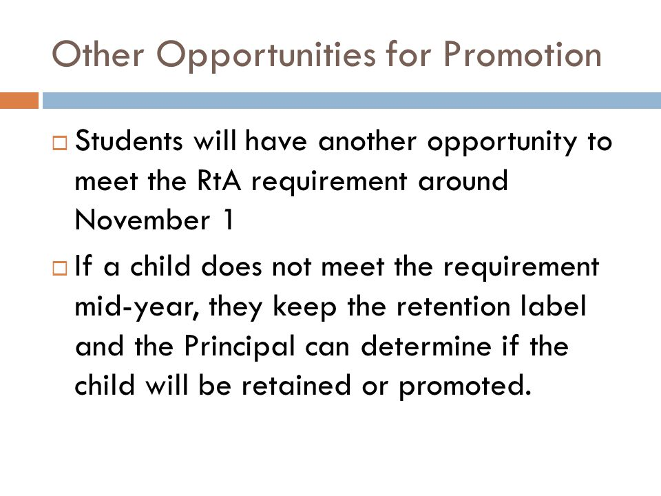 Other Opportunities for Promotion