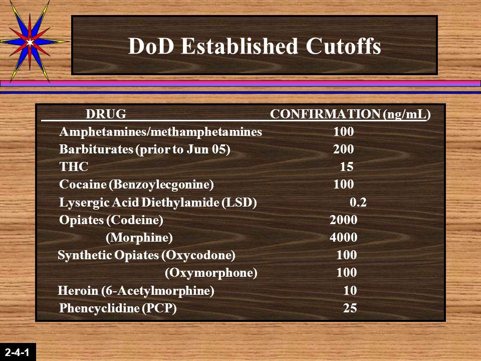 DoD Established Cutoffs