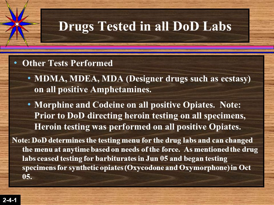 Drugs Tested in all DoD Labs