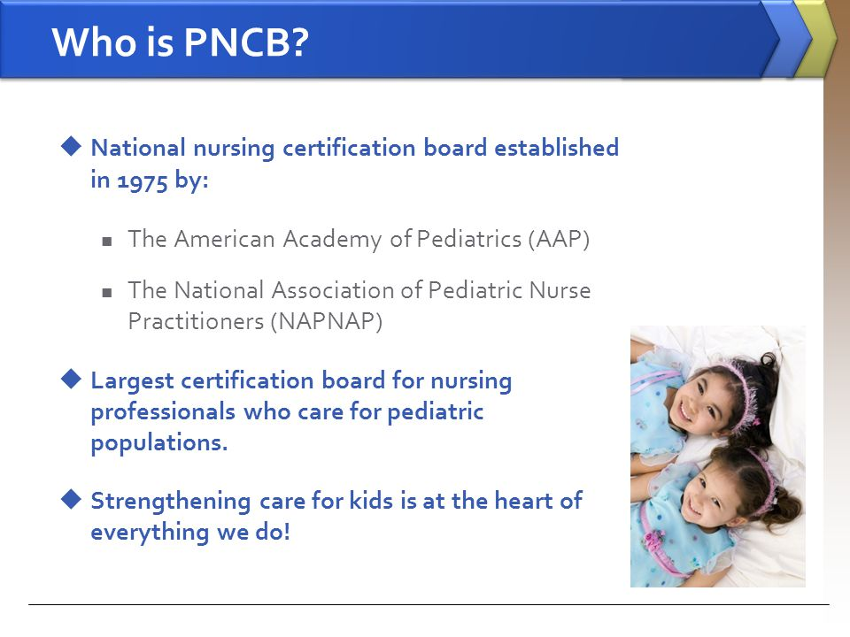 Who is PNCB National nursing certification board established in 1975 by: The American Academy of Pediatrics (AAP)