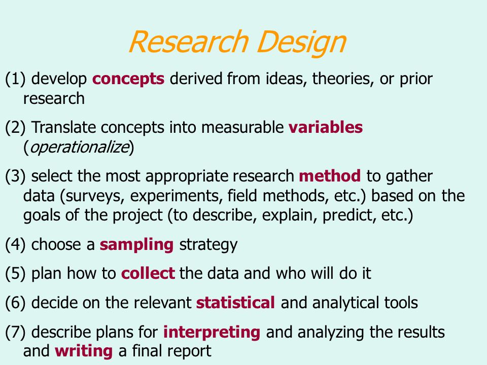 Research Design (1) develop concepts derived from ideas, theories, or prior research.