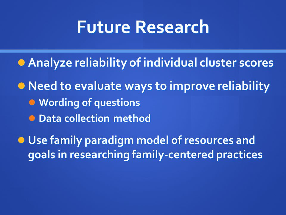 Future Research Analyze reliability of individual cluster scores