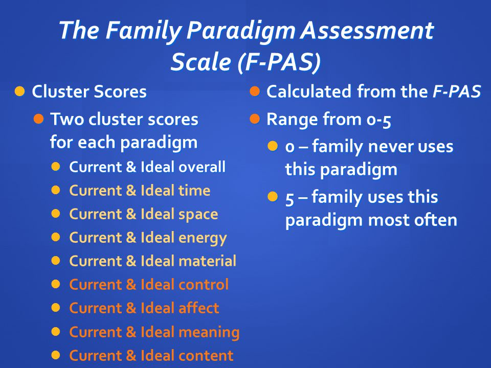 The Family Paradigm Assessment Scale (F-PAS)